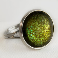 Zombie Ring in Silver - Olive Green Glitter Cocktail Ring
