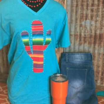 Turquoise V Neck with Serape Cactus t-shirt
