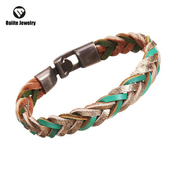 oaiite New Arrival Leather Bracelet Wrap Woven Multicolor Brown For Women Men Unisex Fashion Glamour Pulseira Jewelry BW6123