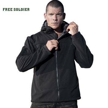 FREE SOLDIER Outdoor sports camping hiking tactical men's jacket military fleece warmth softshell cloth