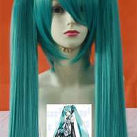 Popular Hatsune Miku Cosplay Wig 85cm Synthetic Hair Straight With Double Ponytails Lovely Green Heat Resistant Party Costume Free Shipping