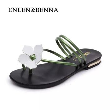 ENLEN&BENNA Arrival Summer Women Slides Metal Women Shoes Chains Flip Flops Flats Beac