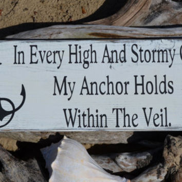 Nautical Decor - Anchor Sign - Anchors - Beach Decor - Beach Sign - Coastal Decor - Hand Painted - Inspirational - Hymnal - Religious