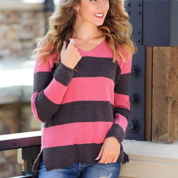 * Always Friends V Neck Knit Sweater: Pink/Charcoal