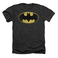 Batman Men's  Distressed Shield T-shirt Grey