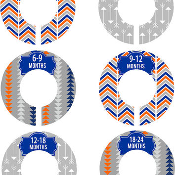 Custom Baby Closet Dividers Orange Grey Navy Arrows Nursery Closet Dividers Baby Shower Gift Baby Clothes Organizers Baby Nursery Organizer