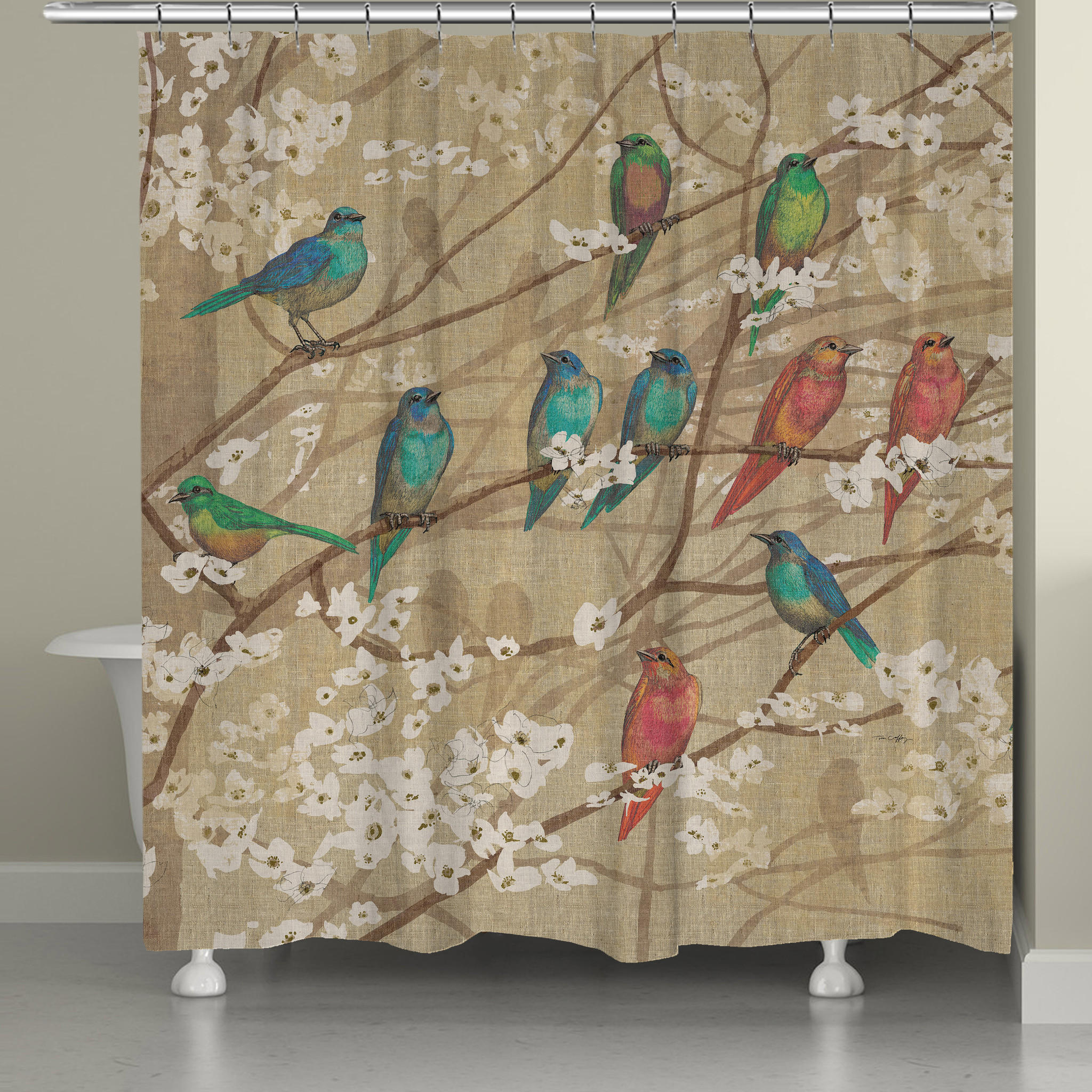 Birds And Blossoms Shower Curtain From Laural Home