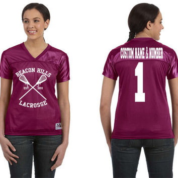 Teen Wolf Beacon Hills Custom Name And Number Women's Football T-Shirt Augusta Sportswear Style 250
