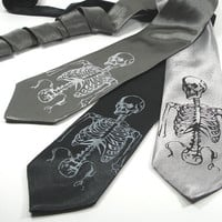 Skeleton Necktie Silk tie in three color choices by projector