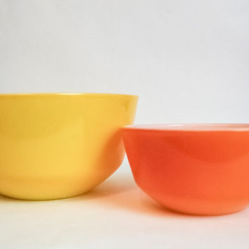 Fire King - Anchor Hocking - Orange and Yellow Ceramic Mixing Bowls
