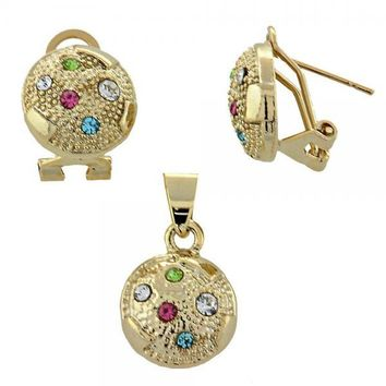 Gold Layered 5.047.009 Earring and Pendant Adult Set, Ball Design, with Multicolor Crystal, Diamond Cutting Finish, Gold Tone
