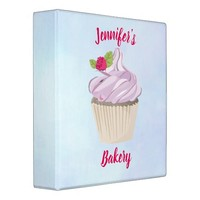Delicious Pink Cupcake Berry on Top Custom 3 Ring Binder