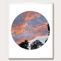Sunset. Photo Download. 8x10. Modern Wall Art. Nature Photography. Photo Printable. Circle Art. Instant Download