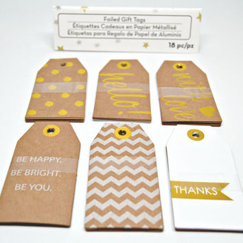 Foil Tags/Brown Kraft Tags with Foil Print/For You Foil Tags/Set of 18 Foil Tags