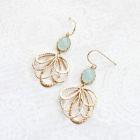Seafoam Mint Glass Earrings Gold Filigree Floral Dangle Earrings Pretty Modern Gold Feather Bridesmaids Gift Bridal Jewelry Nickel Free