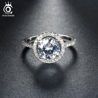 New Arrival Luxury 1.4ct CZ Crystal Wedding Band Engagement Rings for Women Micro Paved 36 Pieces Austrian Zircon OR105