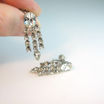Weiss Rhinestone Earrings Dangling Screw Backs 1950s Vintage Jewelry