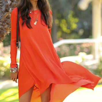 Chicloth Orange Dipped Hemline Chiffon Maxi Dress