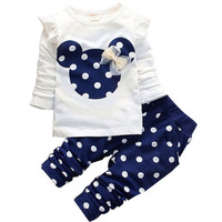 2015 new Spring Autumn children girls clothing sets minnie mouse clothes bow tops t shirt leggings pants baby kids 2 pcs suit