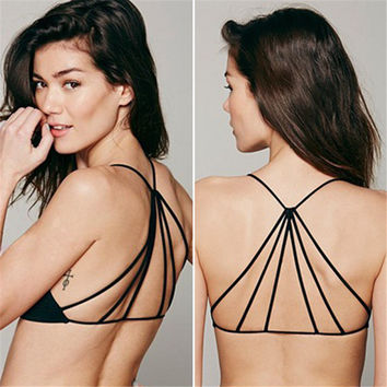 2017 Sexy Women Girl Celebrity Strappy Bralette Caged Back Cut Out Padded Bra Bralet Crop Top Bra