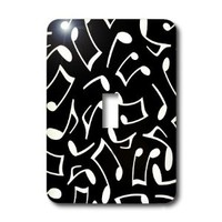 3dRose lsp_165904_1 Music Notes Pattern Black and White Light Switch Cover
