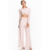Pink Knotted Crop Top Pant Set LAVELIQ
