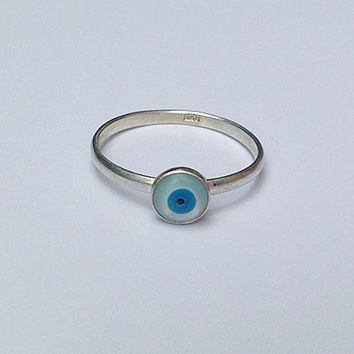 20% off-SALE!!! - Sterling Silver Evil Eye Ring - Gold Evi Eye Ring - Mother of Pearl - Nacre Evil Eye - Simple Ring - Tiny Eye Ring- Charm