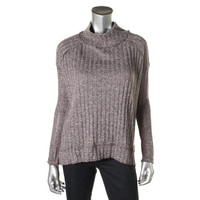 Free People Womens Ribbed Knit Hi-Low Tunic Sweater