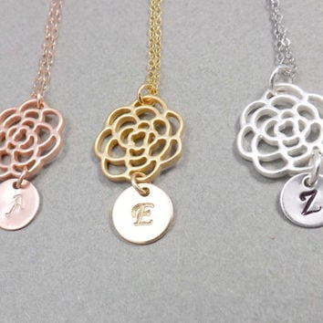 Personalized necklace -flower Necklace,initial necklace, Pendant Necklace - Silver, Gold, Rose gold- Family Tree Necklace