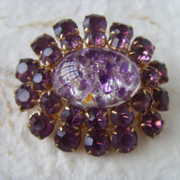 Vintage Soviet Purple Brooch Made in USSR in 1960s