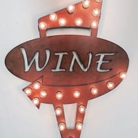RETRO STYLE WINE  Lighted Marquee Sign made of Rusted Recycled Metal Vintage inspired