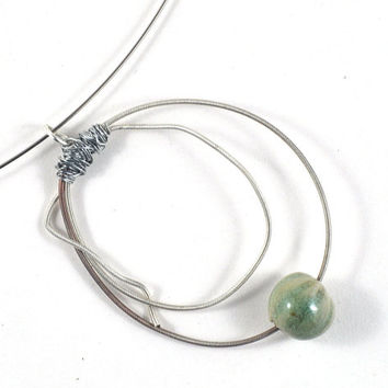 Guitar String Necklace with Green Handmade Ceramic Focal Bead on Choker Memory Wire Music Lovers Gift Ecofriendly Jewelry Wire Wrapped