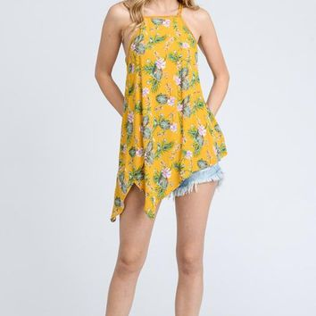 Doe & Rae Tropical Asymmetric Top - Mustard Floral