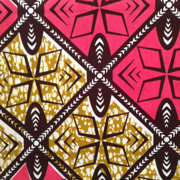 Pink and Black African fabric, Wax print, Pink African print, African material, African fabric, 100% cotton