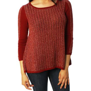Lucky Brand Women's Metallic Swing Open Weave Sweater