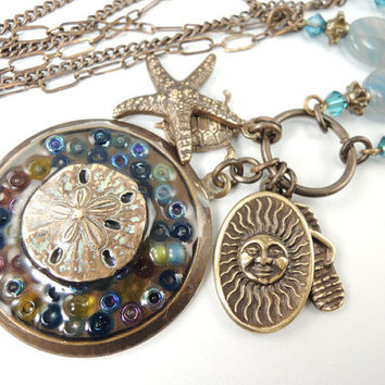 Beach Charm Necklace, Ocean Blue Necklace with brass charms