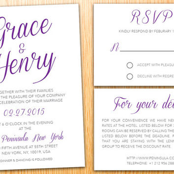 Personalized Instant Download Printable Wedding Invitation Suite Minimalist Classic Elegant Modern Wedding Set Customize Wedding Invite Set