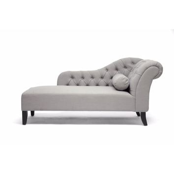 Aphrodite Tufted Putty Gray Linen Modern Chaise Lounge By Baxton Studio
