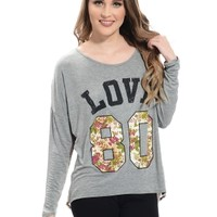 Gray Floral Love Graphic Top | $10 | Cheap Trendy Tees Chic Discount Fashion for Women | ModDeals.co