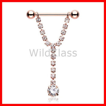 Rose Gold Chandelier Gems Nipple Barbell Ring