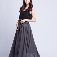 Chiffon Plus Size Skirt Long Skirts Beautiful Elastic Waist Summer Skirt Floor Length Beach Skirt (201) ,63#