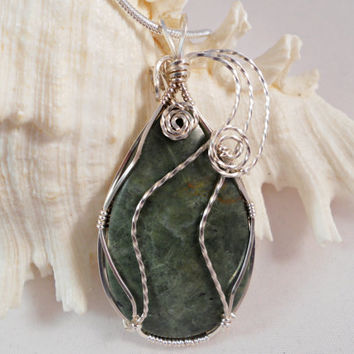 Canadian Jade Wire Wrapped Pendant, Handmade Jewelry