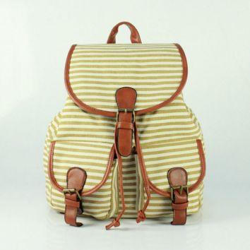Cute Sweet Striped Travelling Bag School Bag Canvas Casual Backpack Daypack