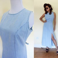 Vintage M/L denim jeans light washed blue front slit sleeveless maxi