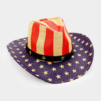 American Flag Leather Straw USA July 4th Independence Day Cowboy Hat 347103