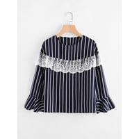 Embroidery Lace Layered Vertical Striped Top NAVY