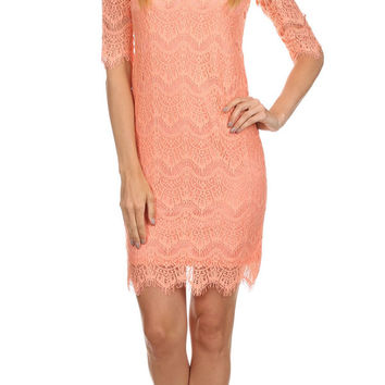 Short Mini Lace Dress Apricot 3/4 Sleeve Round Neckline