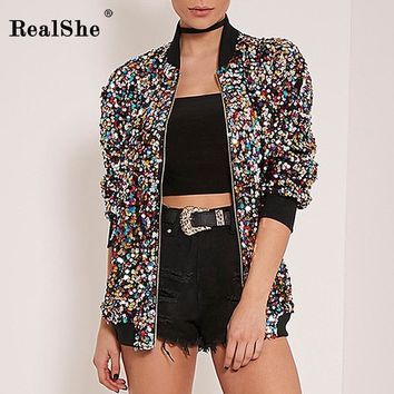 Trendy RealShe 2018 Autumn Woman Coat Women Long Sleeve Zipper Bomber Jacket Women Sequins Basic Coats Casual Windbreaker Outwear AT_94_13