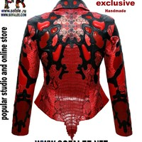 "№42 Stylish women's crocodile python stingray ""Altar"" - Exclusive leather jackets&blazers. Women's clothes leather jackets from real python skin,genuine crocodile (alligator) hide skin, suit, coat, vest, dress of leather. Luxury Sheepakin. Mittens&Earmuffs"