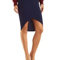 Textured High-Low Midi Skirt by Charlotte Russe